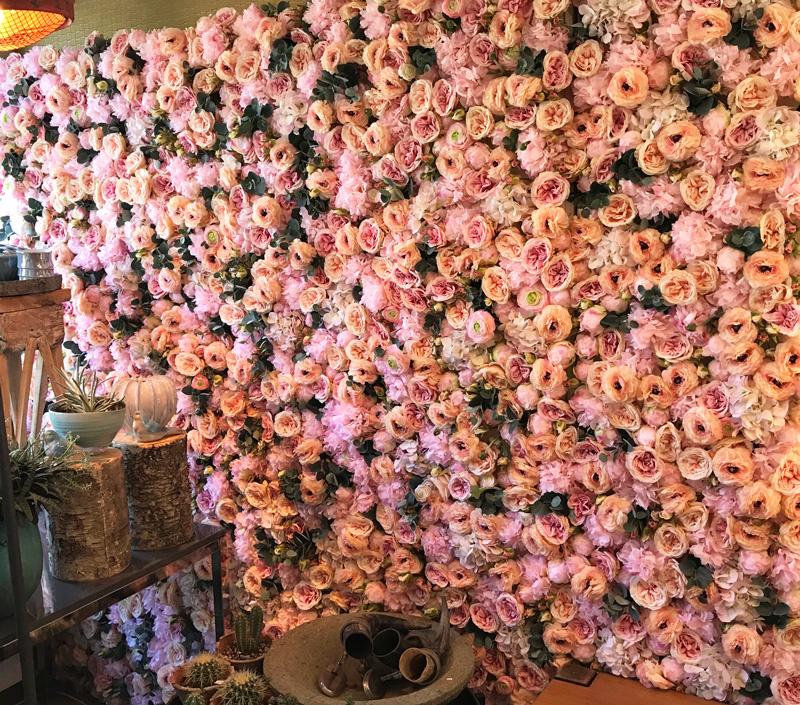 Blumenwand-Element, Rosen (5 Stck.), Dahlien (4 Stck.) u. Hortensienblüten - 25 x 25cm