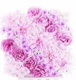 Cuadro con un mix de flores, Dalia, Peonía, Hortensia (fundo 33 x 33cm)
