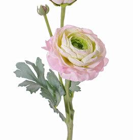 Ranunculus,  2 flowers, (Ø 9cm/ Ø 4cm), 1 bud,  4 lvs., flocked, 40cm