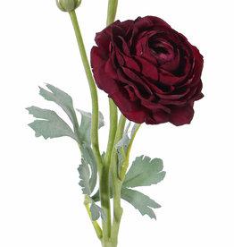 Ranonkel (Ranunculus) 2 bloem (Ø 9cm/ Ø 4cm), 1 knop & 4 blad, flocked, 40cm