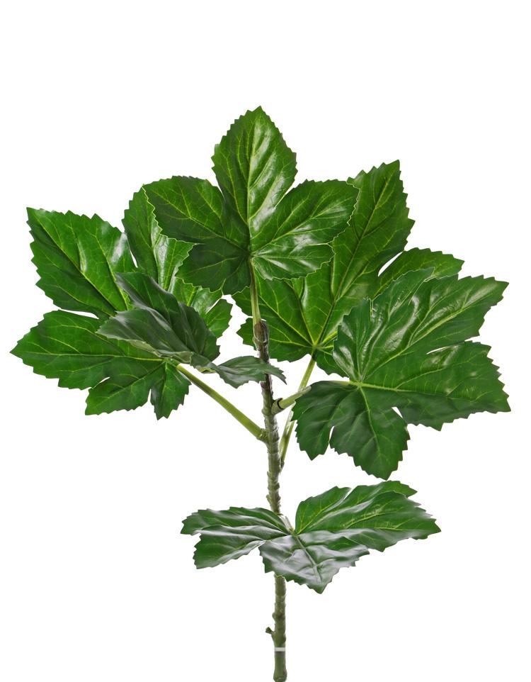 Okra or okro leaf branch, (Abelmoschus esculentus) 6 lvs., (Ø 18 - 21cm) 1 bud, with coating, UV safe, 73cm