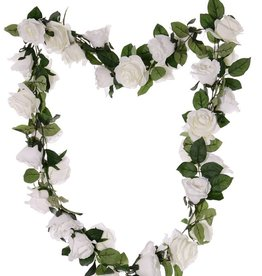 Rose garland 'Honeymoon', 32 flowers (16 large, Ø 9cm / 16 mid. size Ø 7cm) & 90 lvs., 180cm