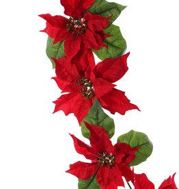 Poinsettia (Kerstster) slinger, 12 bloemen (6Lg/6Md) &18 blad, 180cm