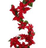 Poinsettia (Weihnachtsstern) Christstern-Girlande, 12 Blumen (6 gr. /6 mittelgr.) mit 18 Blättern, 180cm