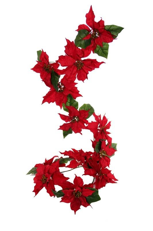 Estrella de Navidad girnalda, 12 flores, tailles mixed (6lg/6med) con 18 hojas, 180cm