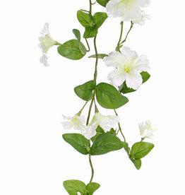 Petuniengirlande mit 2 Verzweigungen, 14 Blumen, 7 Knospen, 40 Blätter, 132cm