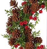 Cypress wreath medium flocked, 60 cones & 45 berries, Ø 15cm/28cm