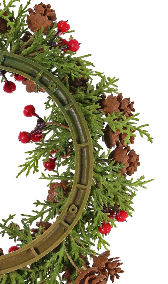 Zypressenkranz, medium flocked, 60 Zapfen & 45 Beeren, Ø 15cm / 28cm