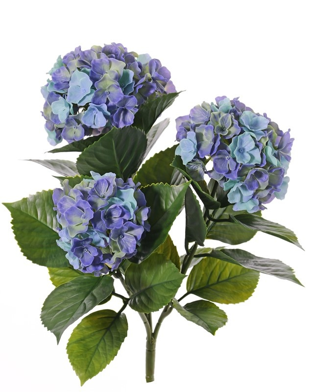 Hortensie, 'All weather', 3 Blumenköpfe (141 Blüten) & 27 Blätter, 43cm - UV-sicher