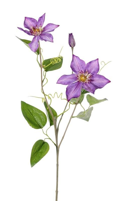 Clematis (Bosrank) 'GardenArt', 2 bloemen, 1 knop, 9 blad & 4 klimmers, flocked steel, 76cm