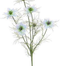 Nigella (Persian jewel) x6,  4 bloemen & 2 knoppen, 15 sets blad, 66cm