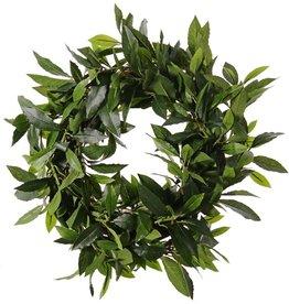 Corona de laurel artificial (Laurus nobilis) 'Top Green', Ø 40cm, resistente de rayos UV, base de ratán