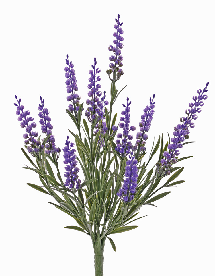 LArtificial lavender, 12 flowers, 42 lvs., fire retardant and UV safe, h. 35cm