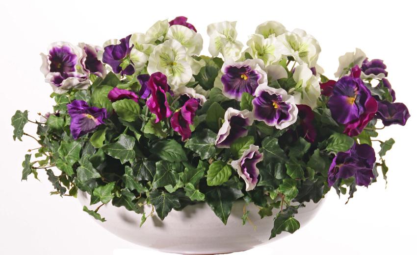 Viola, violetas, 9 flores (7x Ø 7cm y 2x Ø 2,5cm), 28cm