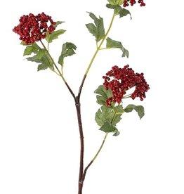 Rama de bayas con 3 ramitas, con 3 grupos de bayas d'espuma (Ø 8/7/6cm), 12 hojas, tallo moreno, 80cm