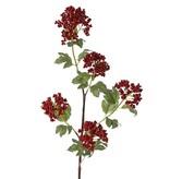Rama de bayas con 5 ramitas, con 5 grupos de bayas d'espuma (2x 6cm/2x 7cm/ 8cm) , 20 hojas, tallo moreno plástico, 90cm