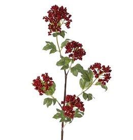 Beerenzweig, 5 Verzweigungen, 5 Styroporbeerenbündel (2x 6cm/2x 7cm/ 8cm), 20 Blätter, brauner Stiel, 90cm