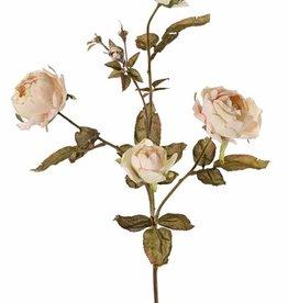 Rama de rosa Edith, 4 flores (2x Ø 8cm, 2x Ø 5cm) & 3 capullos, 26 hojas, 76cm