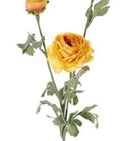Ranonkel met 1 bloem (Ø 9cm) & 2 knoppen (Ø 4cm, Ø 2,5cm), 6 blad, 66cm