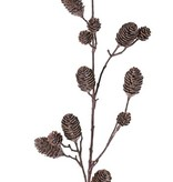 Pinecone branch large x4, with 12 plastic apples (8x7cm & 4x3cm), 98cm