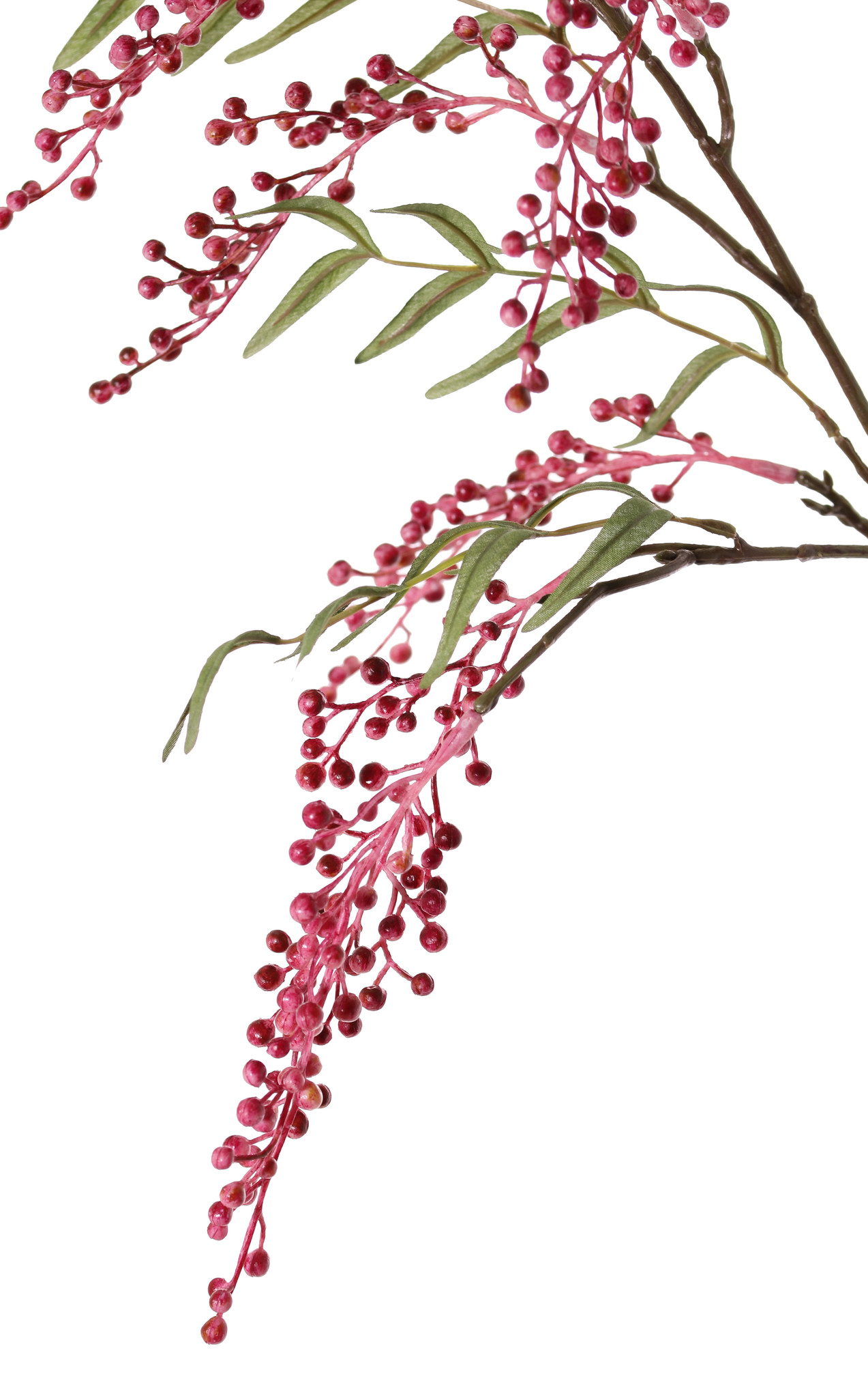 Berries spray x2, 7 clusters of plastic berries (L14cm), 24 leaves, 84cm