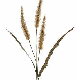 Pennisetum spray with 3 flowers 22cm & 2 leaves, 93cm