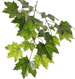 Ahorn-Blattzweig (Acer pseudoplatanus), mit 5 Verzweigungen, 23 Blätter, schwer entflammbar, 80cm