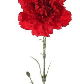 Anjer (Dianthus), 1 bloem (Ø 9 cm), met 2 plastic knopjes & 6 bladeren (plastic), 60 cm