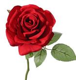 Roos de luxe 'Fleuri', 1 bloem ø12cm, 5 blad, plastic steel, 30cm