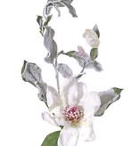 Magnolia, 2 bloemen, 16 bladeren, met sneeuw, 81cm, Ø 15 cm - ACTIE