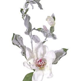 Magnolia, 2 flores, 16 hojas, con nieve, 81 cm, Ø 15 cm - oferta especial