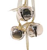 Metal balls (Jingle Bells),  4 bells (Ø ca. 4,5 cm) on a gold ribbon, 35 cm - SUPER DEAL