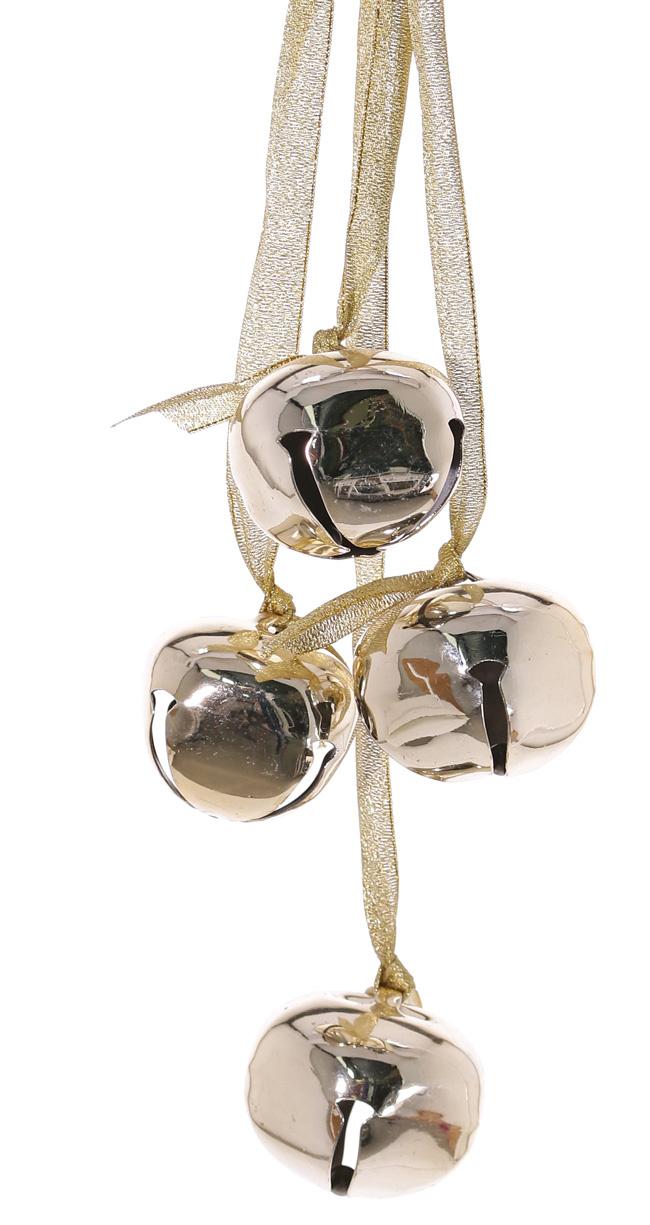 Jingle bells (metaal) 4 stuks met gouden lint, 35 cm,  Ø 4,5 cm - SUPER DEAL