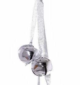 Metal balls (Jingle Bells),  4 bells (Ø ca. 4,5 cm) on a silver ribbon, 35 cm - SUPER DEAL