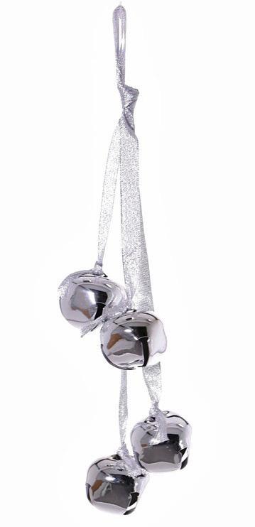 Jingle bells (metaal) 4 stuks met  lint, 35 cm,  Ø 4,5 cm - SUPER DEAL