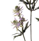Distelzweig (Eryngium) mit 3 Verzweigungen, 20 Disteln (Plastik, 8 gr. u. 12 kl.) & 24 Blätter, 65 cm