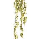 Colgador de helecho (laguna) 'Ola verde' sobre bulbo de musgo Ø 8 cm, 6 correderas, 44 racimos de hojas de plástico, 90 cm