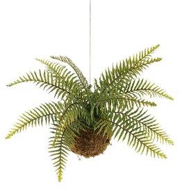 Colgador de helecho sobre bola de musgo Ø 14 cm, H. 35 cm, Ø 50 cm, 12 hojas de plástico, con cuerda, 25 x 10 cm
