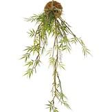 Bambushänger 'Green Wave' auf Mooskugel Ø 8 cm, 25 Kunststoff-Blattcluster, mit Kordel, 60 cm
