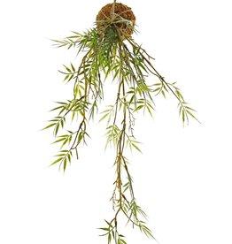 Colgante de bambú 'Green Wave' sobre bola de musgo Ø 8 cm, 25 racimos de hojas de plástico, con cuerda, 60 cm