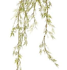 Colgante de bambú 'Green Wave' sobre bola de musgo Ø 8 cm, 44 racimos de hojas de plástico, 90 cm