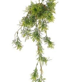 Rozemarijnhanger 'Green Wave' op mosbol Ø 8 cm, 6 uitlopers, 25 plastic bladclusters, met touw, 60cm