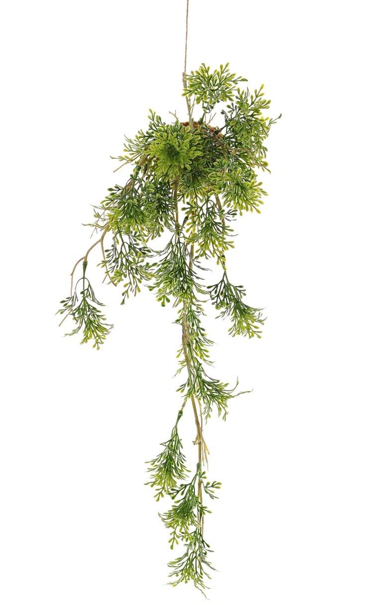Colgante de romero 'Green Wave' sobre bulbo de musgo Ø 8 cm, 25 racimos de hojas de plástico, con cuerda, 60cm