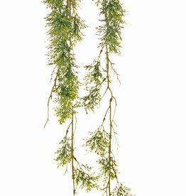Colgante de romero 'Ola verde' sobre bulbo de musgo Ø 8 cm, 44 racimos de hojas de plástico, con cuerda, 90 cm