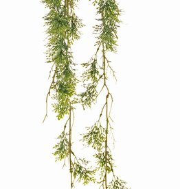 Rosemary 'Green Wave' on a moss bulb Ø 8 cm, 44 plastic leaf clusters, with rope, 90 cm