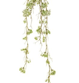 Gänsebluemchen-Hänger 'Green Wave' auf Moosball Ø 8 cm, 6 Ausläufer, 76 plastic bloemen, 90 cm