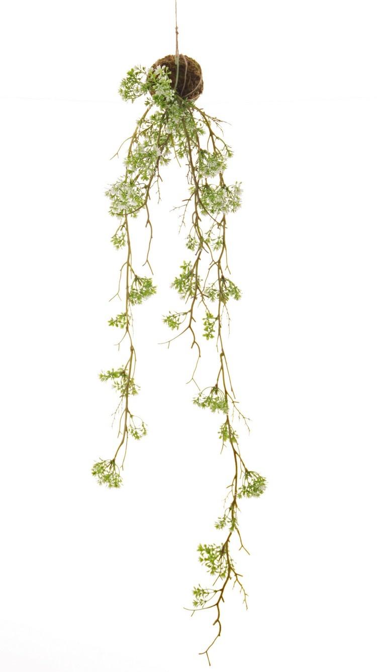 Margriethanger 'Green wave' op mosbol Ø 8 cm, 6 uitlopers, 76 plastic bloemen, 90 cm
