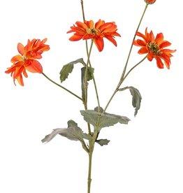 Chrysanthemum 'Sol', 4 flores , (3x grande / 1x medio), 1 capullo (Ø 2 cm) & 6 hojas (3x grande/ 3x peq.), 65 cm