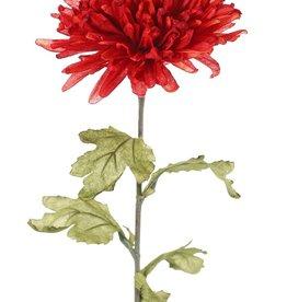 Chrysant (Chrysanthemum), 1 bloem (Ø 12 cm, H. 6 cm) & 5 blad (6 x 8 cm), groene steel, 68 cm