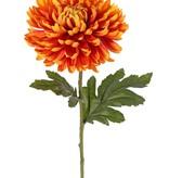 Bolchrysant (Chrysanthemum), 1 bloem (Ø 14 cm, H. 5 cm) & 2 blad (polyester), groene steel, 65 cm